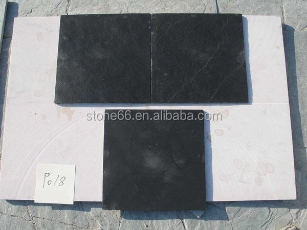Natural black slate floor paver 24x24 cut to size with back calibrated