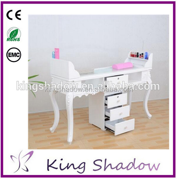 2016 girlish white manicure table manicure salon furniture nail table with functional drawers