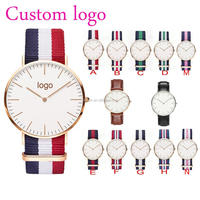 Fashion Stainless Steel Case Brand Couple Lover Nylon Strap Watches plastic wrist watch