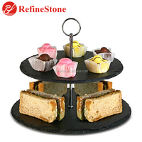 2 tier black slate plate for cake and food display stand