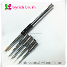 Switchable metal handle kolinsky nail bursh nail art brush set in one box