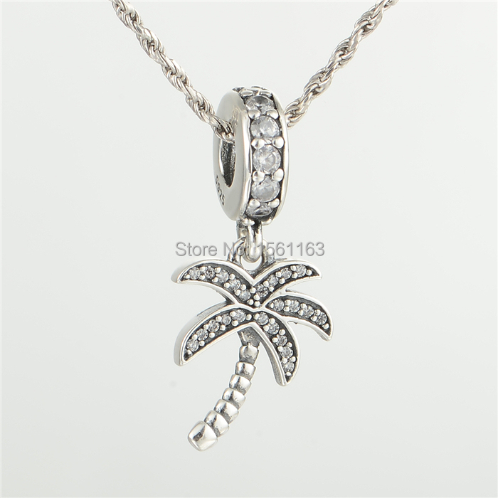Fits Chamilia Charms Bracelet Wholesale Fashion Jewelry 925 Sterling Silver Sparkling Palm Tree Pendant Charmm LW531