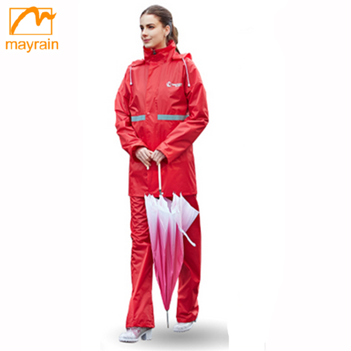 Printed portable two piece rain suits , custom polyester rain suits