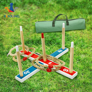 wooden Ring Toss Games For Kids and Outdoor Toys - Easy to Assemble and Includes Carry Bag with 5 rope rings
