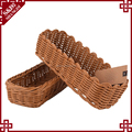 Long design eco-friendly plastic rattan hand woven bread basket bakery display trays