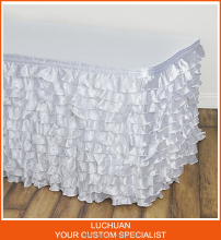 New Fancy Rectangle Wedding White Steps in Table Skirting