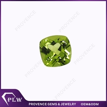 Factory price olive gems double checkerboard cut natural peridot stone