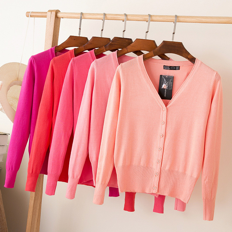Wholesale Fashion Women Cardigan Sweater Casual V-Neck Cardigan Loose V Neck Sweater