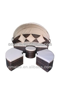 Aluminium rattan outdoor furniture-rattan round bed for comfortable living high class outdoor furniture