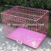 "New Pink 36"" Medium Folding Wire Dog Puppy Crate Cage Kennel With Metal Tray"