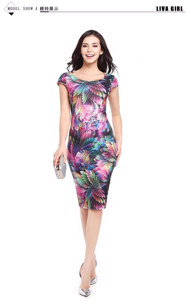 2017 New Elegant Floral Feather Bodycon Pencil Sexy Print Summer Dress Women Casual Dresses Plus size Vestidos