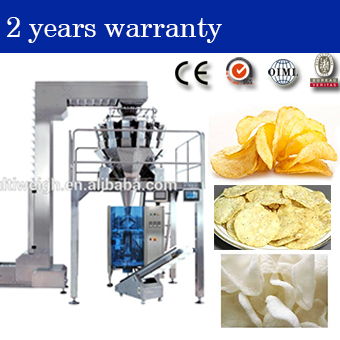 puffed food crispy rice ,potato chip ,prawn crackers packaging machine with 14 heads multihead combination weigher for wholesale