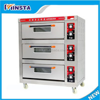 Selling pizza oven used in beverage shop equipment three layer six plate commercial gas pizza oven for small business