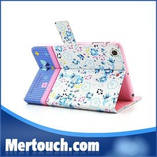 Portable leather tablet case for iPad mini Magnetic Foldable flip leather tablet case for iPad case