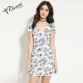 Elegant short sleeve dress of floral print