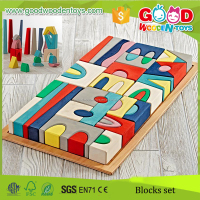 2015 Hot Selling Products 52pcs Village Blocks Colorful Wood Building Block Set with a tray