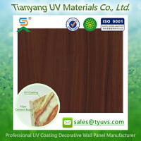 lightweight Wood Grain UV Curing Coating decorative wall board / decorative Fiber cement board