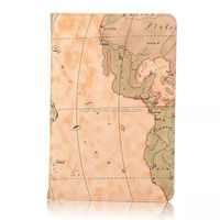 World map pattern leather case for iPad mini 4