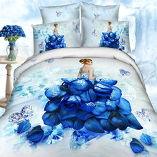 Hot Sale Charming Russian Beauty Printed Blue Color 3D Bedding Set