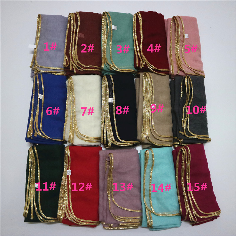 New Design Gold Borders Plain Muslim Hijab Cotton Viscose Scarves With Gold Sew Fashion Long Shawl Wrap