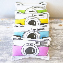 Bespoke die cut pillow cute carton camera shaped kids toy cushion with belt