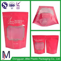 custom plastic packaging bags for freeze dried coffee hemp nut milk bag with window red plastic bag ziplock