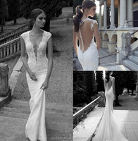 High Quality Custom Made V Neck Long Mermaid Full Lace Wedding Dress