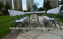 HL-Z240 :2.4M Long Plastic Picnic Tables Half Folding Tables White Color Folding Furniture