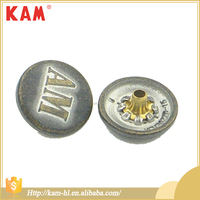 Factory supply round metal customized logo snap cover button