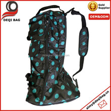 Turquoise Polka Dots Riding Long Boot Carrying Travel Bag 420D Nylon