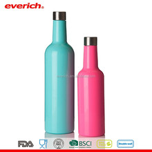 Everich Long Neck 750ml Colored Stainless Steel Glass Wine Bottles