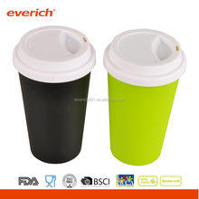 Everich 400ml/470ml food grade PP double wall plastic travel mug with lid