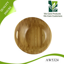Natural color acacia wood large wooden salad bowl with handle hole