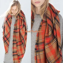 Lady's Wool Blanket Oversized Tartan Scarf Wrap Shawl Plaid Checked Pashmina
