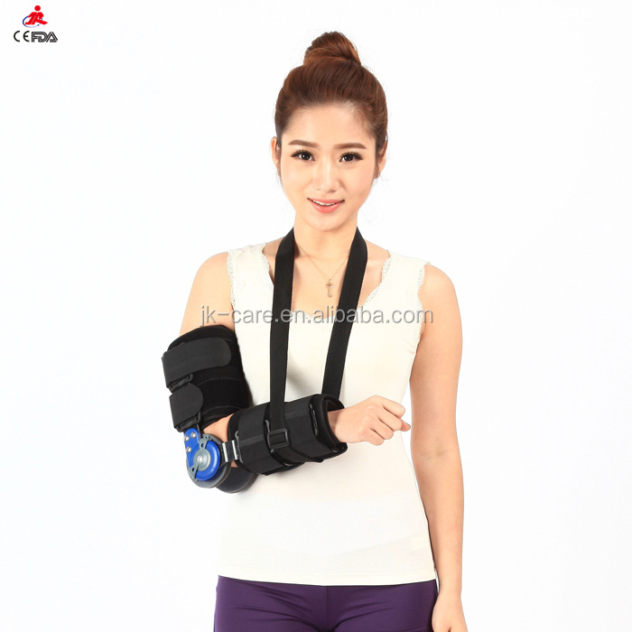 Adjustable medical ROM hinged elbow support / brace / guard / protector