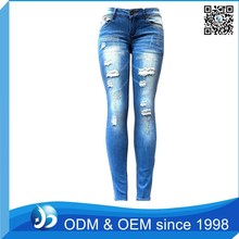 OEM Service Pictures Sexy Ripped Jeans Pants Women Chain