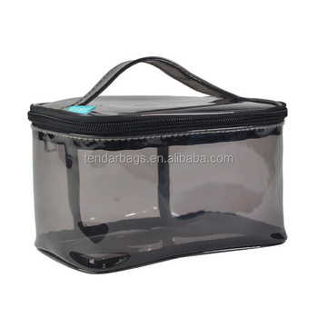 Clear Black PVC Cosmetic Packaging Bag With Zipper Handle Design