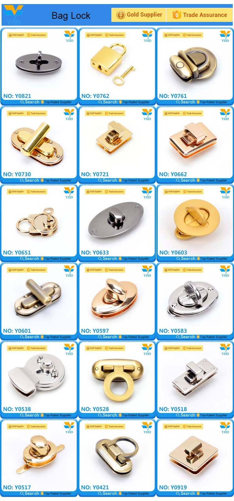 Hot fashion zinc alloy handbag locks metal wholesale
