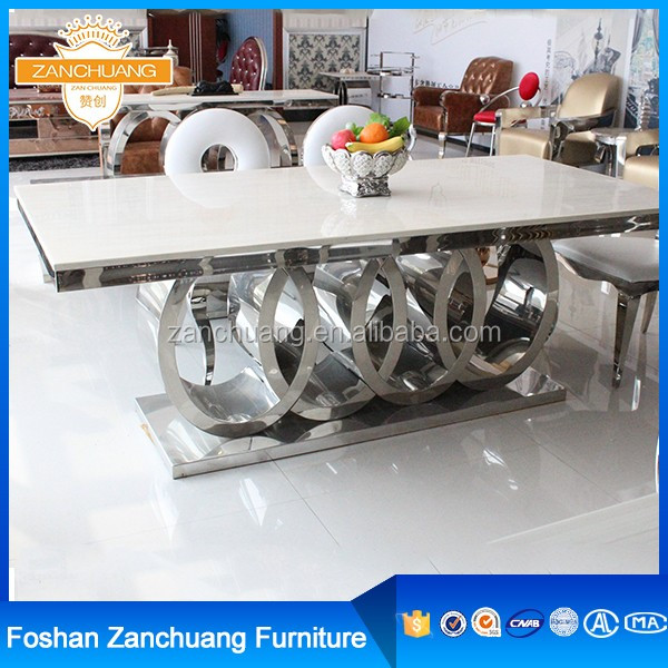 Wholesale Audi Symbol Base stainless steel dining table and chair set