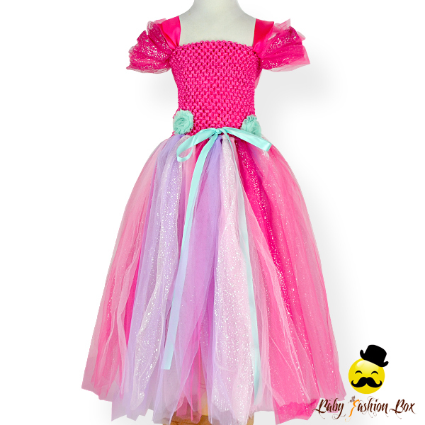 Remake Handmade Kids Hot Pink Tulle Chiffon Bubble Sleeve Puffy Long Birthday Wear Girls Party Dress