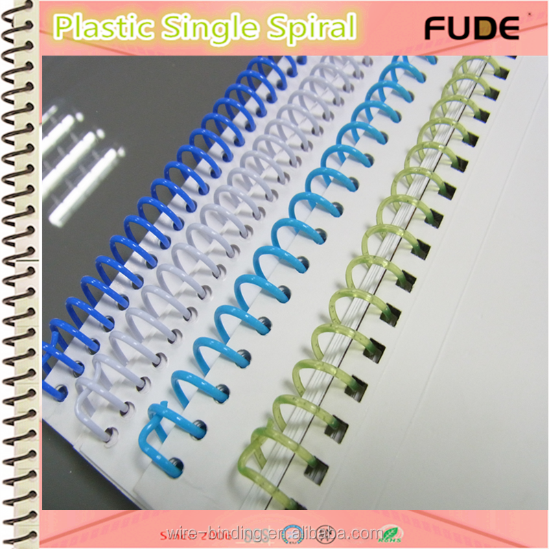 Environmental-Friendly 6mm - 50mm PVC Plastic Single Spiral Coil for notebooks binding