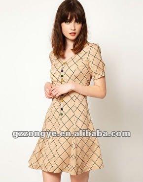Women viscose printed check shirtdress fancy dress