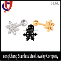 Wholesale beautiful snowflake shape stainless steel tongue ring for body jewelry for unisex