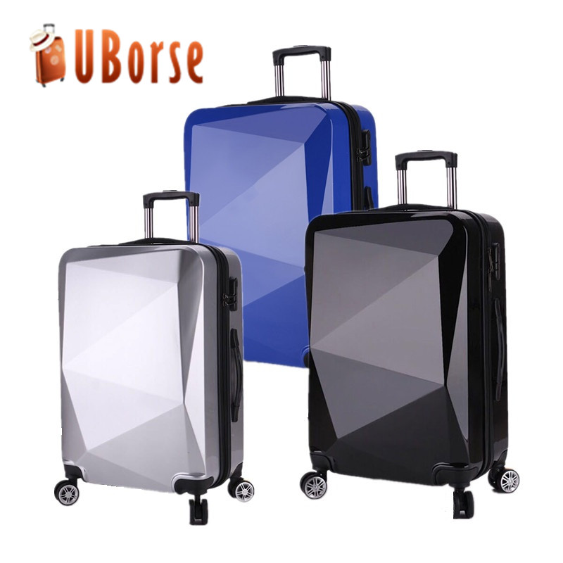 Cheap ABS diamond design colorful hard shell spinner trolley luggage