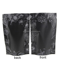 custom printed plastic classical black color stand up pouch with zipper