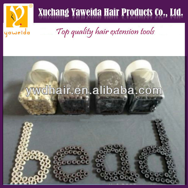 Black, brown, beige color Top quality human hair extension bead links silicone lined micro rings