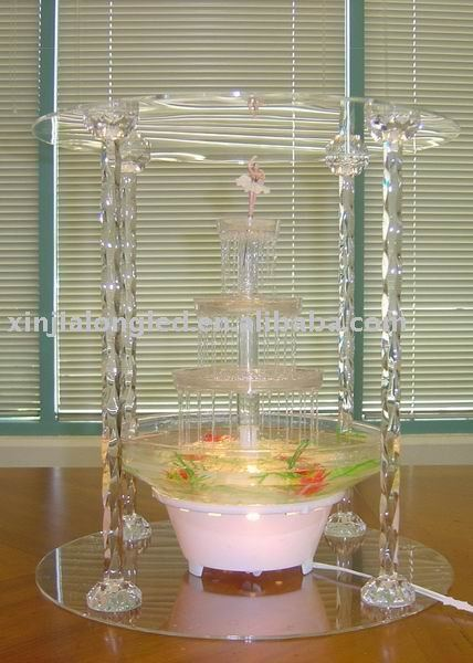 acrylic support cake stand with fountain with four Twist grain sticks