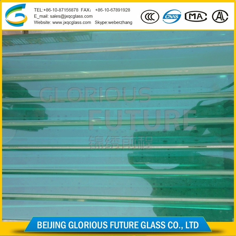 transparent bright 19mm hanging armored glass curtain wall for auto 4S shop