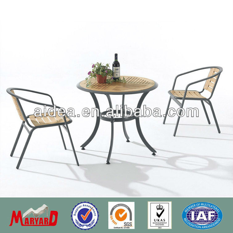 wooden and aluminum table and chair outdoor cafe furniture