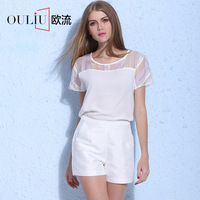 High quality simple design short sleeve perspective organza & chiffon patch work in blouse neck designs